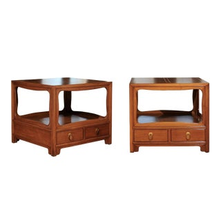 Beautiful Restored Pair of Walnut End Tables by Michael Taylor for Baker For Sale