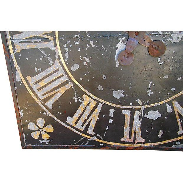 "Iron X-Large Stunning Antique French Iron & Gilt Tower Clock Face 79"" Square For Sale - Image 7 of 9"