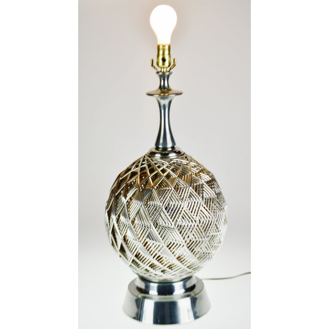Vintage Brutalist Style Woven Metal Look Table Lamp For Sale - Image 12 of 13
