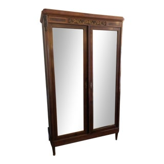19th Century French Mahogany & Satinwood Armoire with Mirrored Doors For Sale