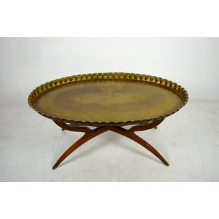 1960s Anglo-Indian Oval Brass Tray Top Table Preview