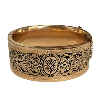 Wide Victorian Gold Filled Enamel Bangle Bracelet For Sale