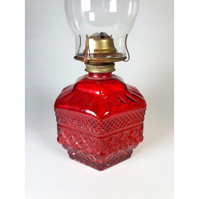 Antique Eagle Red Glass Hurricane Oil Lamp For Sale - Image 4 of 6