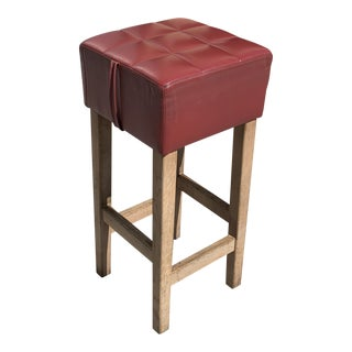 1940s Vintage French Art Deco Cerused Oak Bar Stool For Sale
