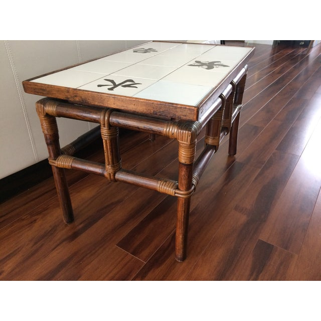 Ficks Reed Mid Century Bamboo & Tile Table - Image 6 of 9