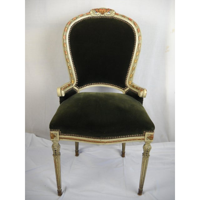 Mid 20th Century French Painted Gilt Dining Chairs - Set of 6 For Sale - Image 5 of 11