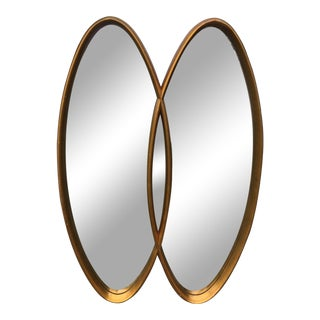 Mid Century Modern Double Overlapping Oval Gilded Mirror For Sale