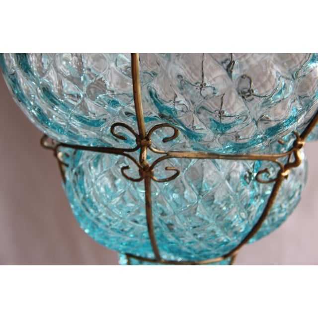 Large 1940's Seguso Murano Blue Bubble Glass Pendant Chandelier For Sale In Seattle - Image 6 of 7