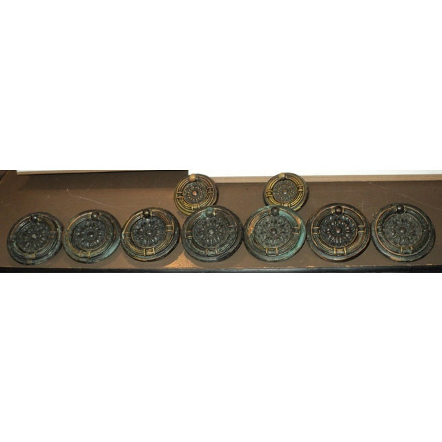 "Set of 9 antique Victorian regency bronze/copper round drawer pulls. The big ones are around ""2 1/8 round and the little..."