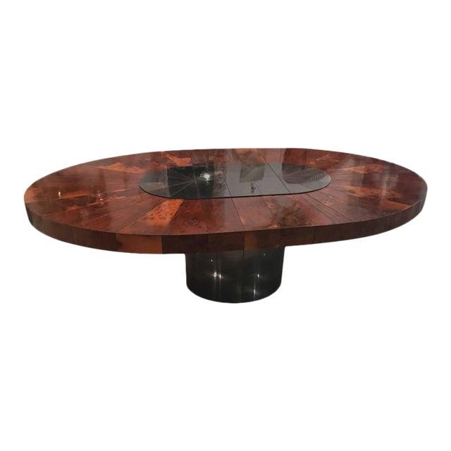 Paul Evans Burlwood Dining Table Brushed Metal For Sale - Image 12 of 12