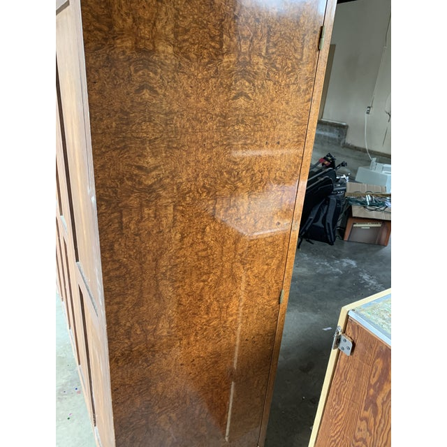 Wood 1930s Art Deco Burlwood Armoire For Sale - Image 7 of 9