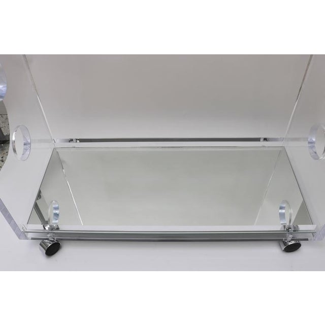 Customizable Rectangular Shaped Bespoke Bar Cart in Lucite and Mirror by Alexander Millen For Sale - Image 10 of 10