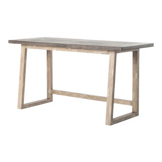 Concrete And Wood Writing Table For Sale