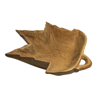 Boho Chic Late 20th Century Carved Wooden Maple Leaf Bowl For Sale