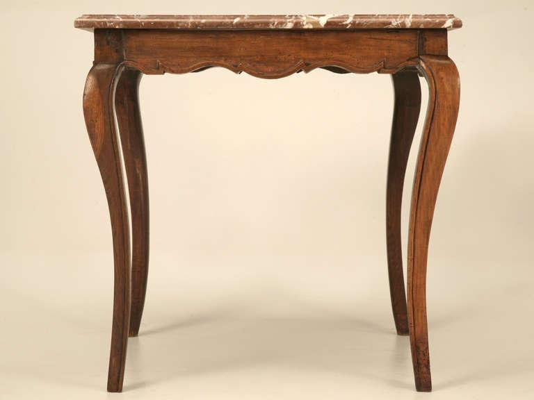 Beautiful 18th Century Antique French Louis XV Cherry Side Or Hall Table With Marble  Top For Sale