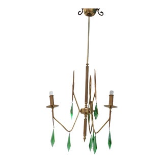Brass Chandelier with a Murano Handcut Emerald Glass For Sale