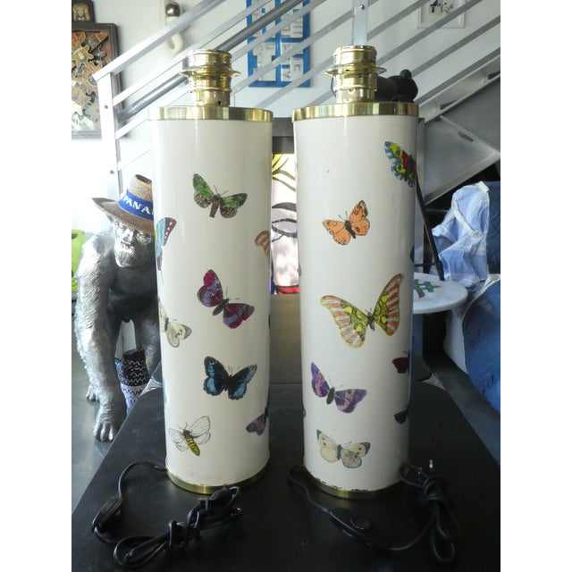 1960s Fornasetti Butterfly Table Lamps in White, 1960s - a Pair For Sale - Image 5 of 12