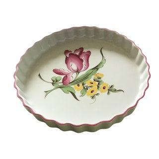 Spode Marlborough Sprays Round Quiche/Tart Baking Dish with Floral Motif and Pink Rim For Sale