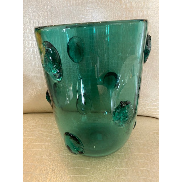 Mid-century Murano Green Glass Vase. Crafted in Italy during the 1950s.