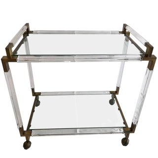 Vintage Brass and Lucite Bar Cart by Charles Hollis Jones, Metric Collection For Sale
