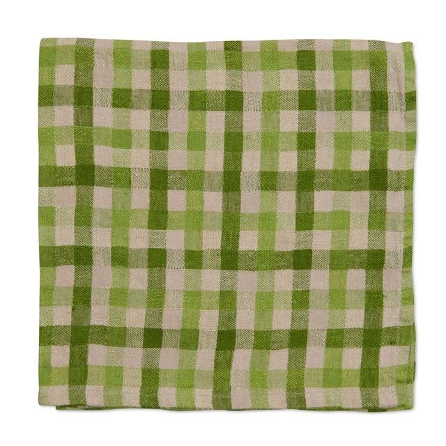 American Deborah Rhodes Checkerboard Napkins, Green, Set of 4 For Sale - Image 3 of 3