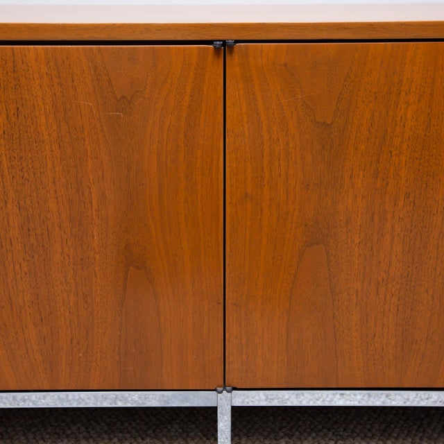 Chrome Florence Knoll Walnut Credenza For Sale - Image 7 of 8