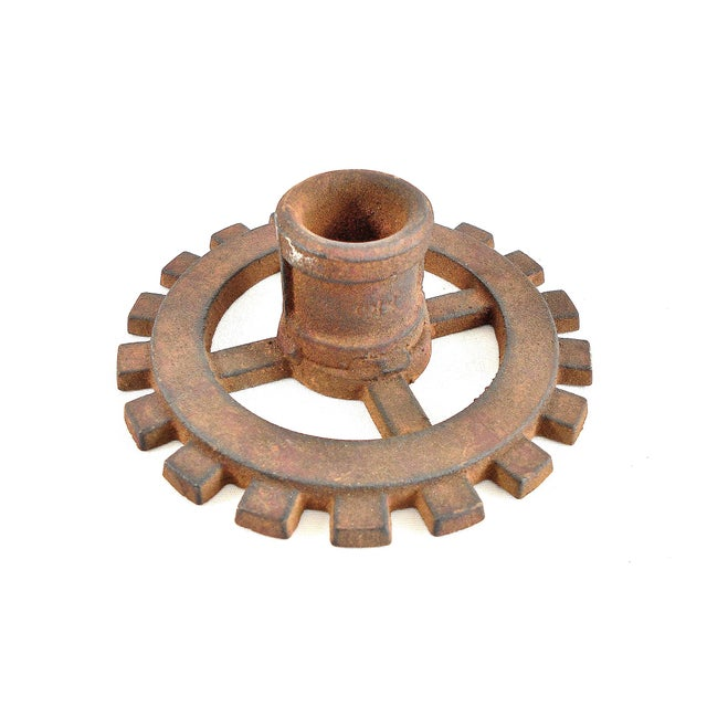 Vintage Factory Gears Candle Holders - Set of 5 - Image 6 of 10