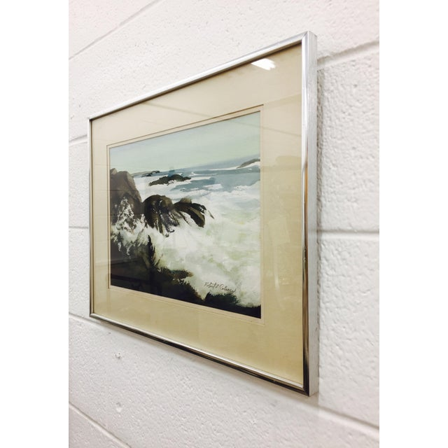 Vintage Framed Watercolor Seascape Painting - Image 6 of 8