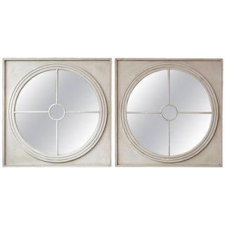 Large Pair of Round Architectural Mirrors in a Square Frame For Sale
