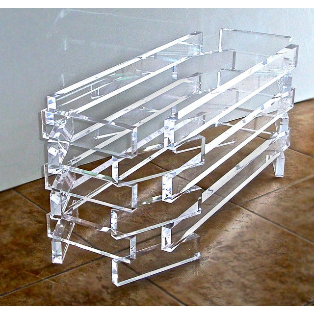 Vintage Modern Acrylic Lucite Base Coffee Table - Image 2 of 5
