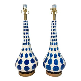 Hand Painted Blue & White Lamps - A Pair