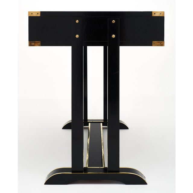 Black 1950s Vintage Italian Campaign Desk For Sale - Image 8 of 10