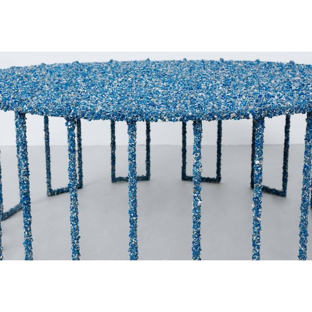 Hand Made Crushed Lapis Lazuli Coffee Table, by Samuel Amoia For Sale - Image 4 of 7