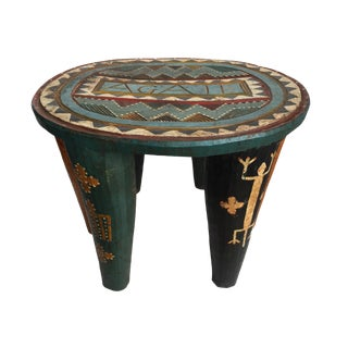 "African Lg Nupe Stool Nigeria 13"" H by 17.5"" W For Sale"