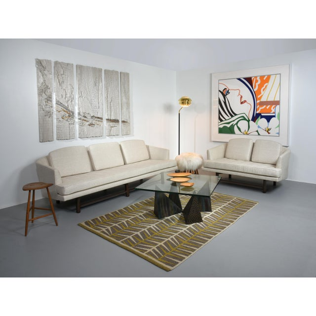 Edward Wormley for Dunbar Settee With Mahogany Base, Circa 1956 For Sale - Image 9 of 10