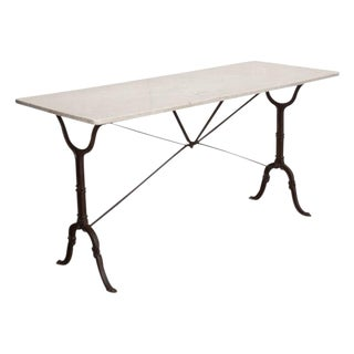 French Early 20th Century Long Marble Top Bistro Table For Sale