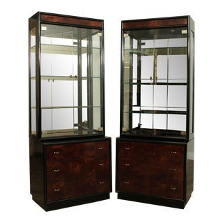 Henredon Scene Three Burl Wood & Black Lacquer Pair Curio Cabinets For Sale