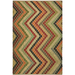 Ezra Gray/Blue Hand-Woven Kilim Wool Rug -9'4 X 12'1 For Sale