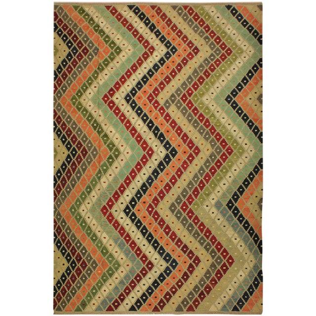 Shabby Chic Tribal Ezra Gray/Blue Hand-Woven Kilim Wool Rug -9'4 X 12'1 For Sale