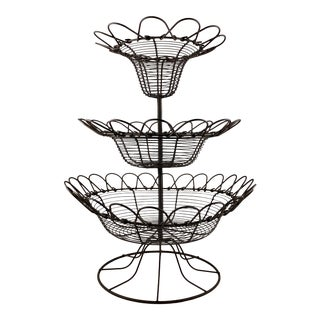 Antique French Triple Tier Handmade Twisted Black Wire Kitchen or Flower Basket For Sale