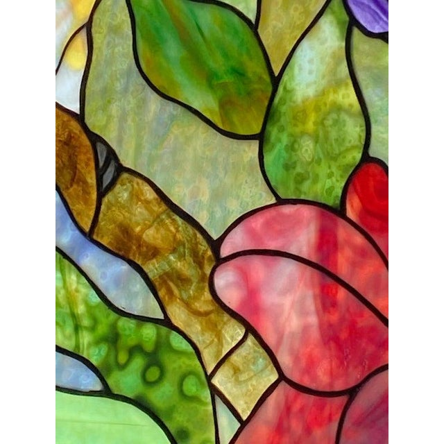 Green Vintage Abraham '94 Stained Glass Window Decoration of a Tropical Cockatoo For Sale - Image 8 of 13
