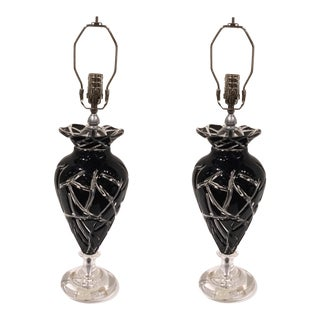 Transitional Italian Black Amethyst Clear Cut Glass Table Lamps Pair For Sale