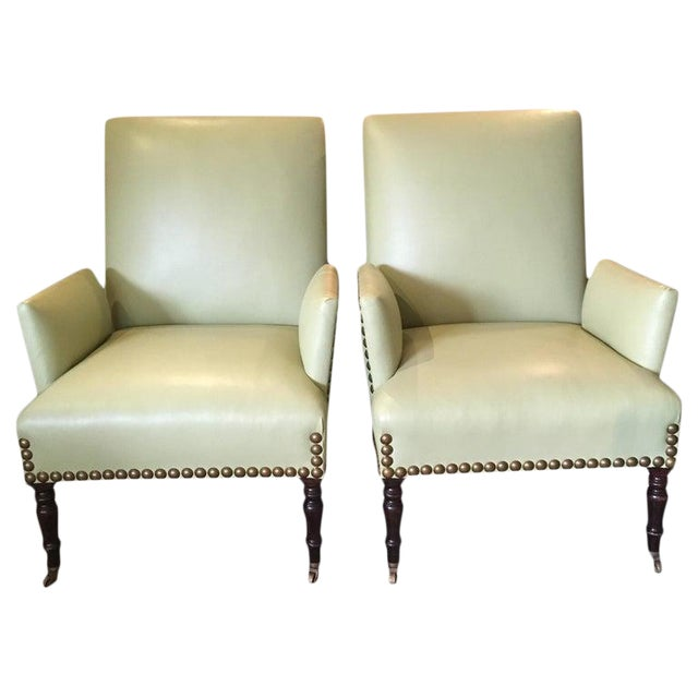 Vintage Lime Green Leather George Smith Club Chairs- A Pair For Sale