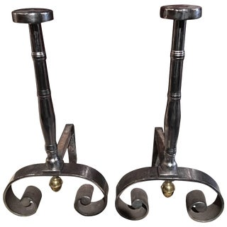 Pair of Polished Iron Chenets or Andirons, 19th Century For Sale