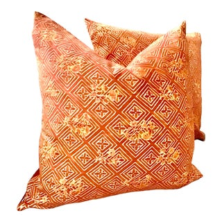 "Art Nouveau Fortuny ""Jupon Bouquet"" in Bittersweet-Pair of 22"" Down Filled Complete Pillows - a Pair For Sale"