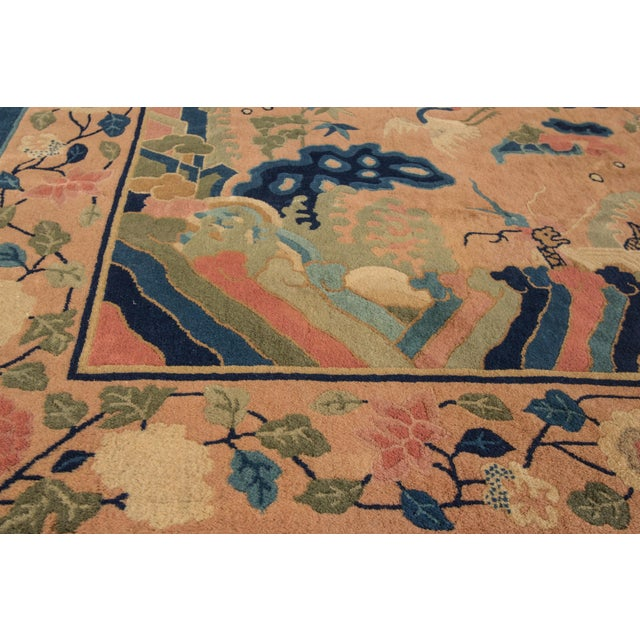Peach Antique Peach Peking Chinese Room Size Wool Rug 9 Ft X 11 Ft 9 In. For Sale - Image 8 of 11