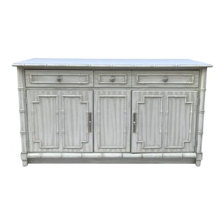 Hollywood Regency Thomasville Faux Bamboo Sideboard For Sale