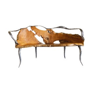 Master Lie Nay Tjien Sculptural Teakwood and Stainless Steel Bench For Sale
