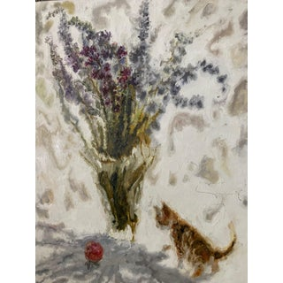 """Abstract """"Floral Vase & Kitten"""" Oil Painting For Sale"""