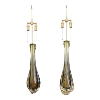 Amber and Green Glass Table Lamps by Val St Lambert - a Pair For Sale